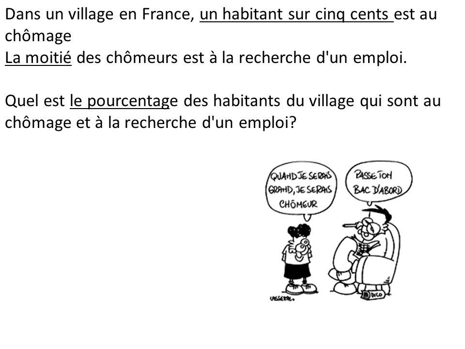 Dans un village en France, un habitant sur cinq cents est au chômage La moitié des chômeurs est à la recherche d'un emploi. Quel est le pourcentage de