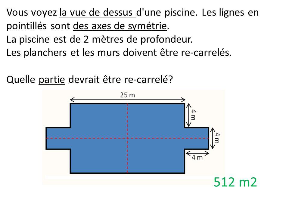 Vous voyez la vue de dessus d'une piscine. Les lignes en pointillés sont des axes de symétrie. La piscine est de 2 mètres de profondeur. Les planchers