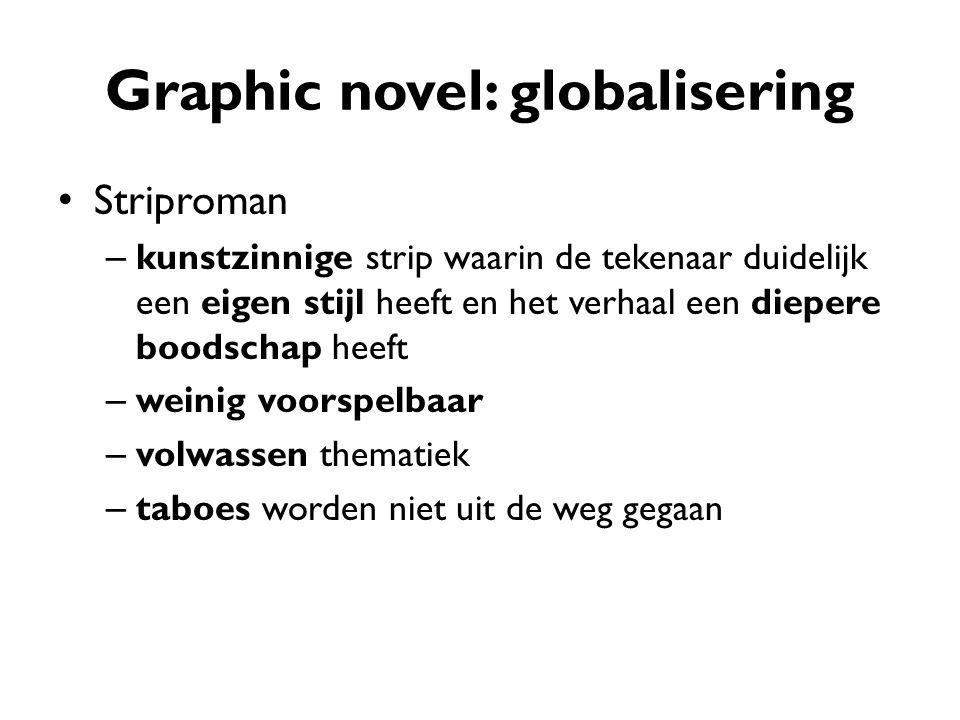 Graphic novel: globalisering Striproman – kunstzinnige strip waarin de tekenaar duidelijk een eigen stijl heeft en het verhaal een diepere boodschap h