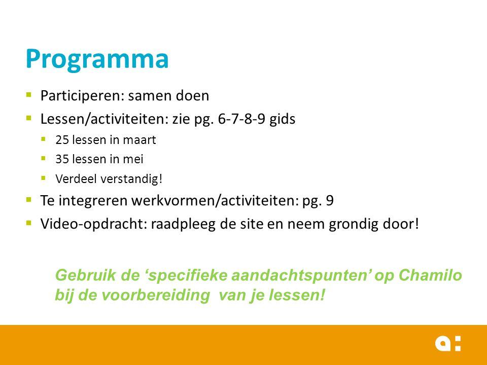  Participeren: samen doen  Lessen/activiteiten: zie pg.