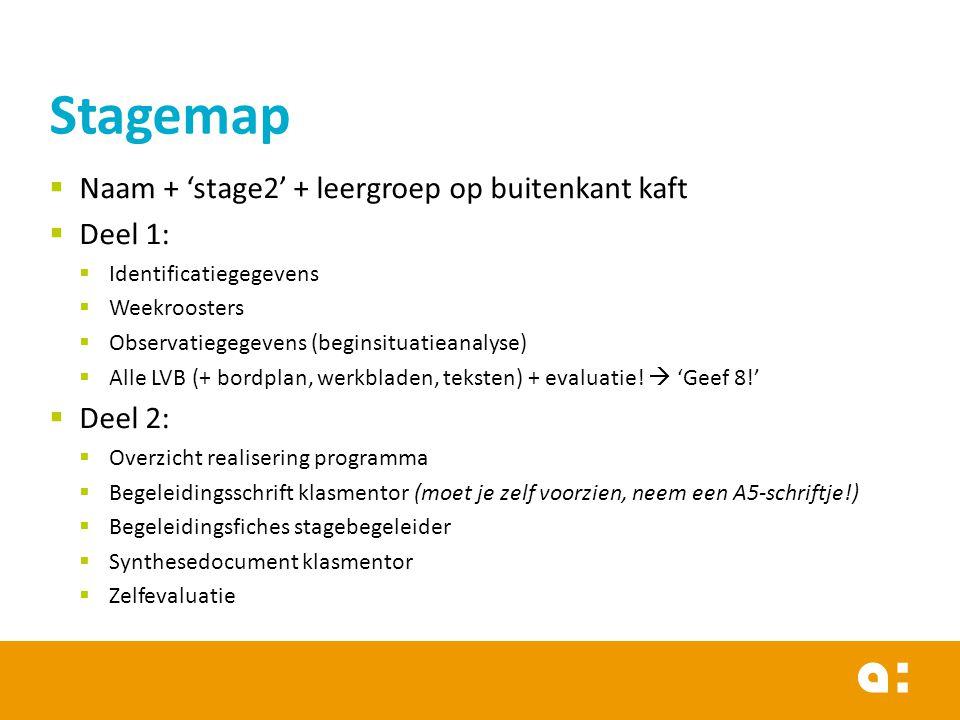  Naam + 'stage2' + leergroep op buitenkant kaft  Deel 1:  Identificatiegegevens  Weekroosters  Observatiegegevens (beginsituatieanalyse)  Alle LVB (+ bordplan, werkbladen, teksten) + evaluatie.