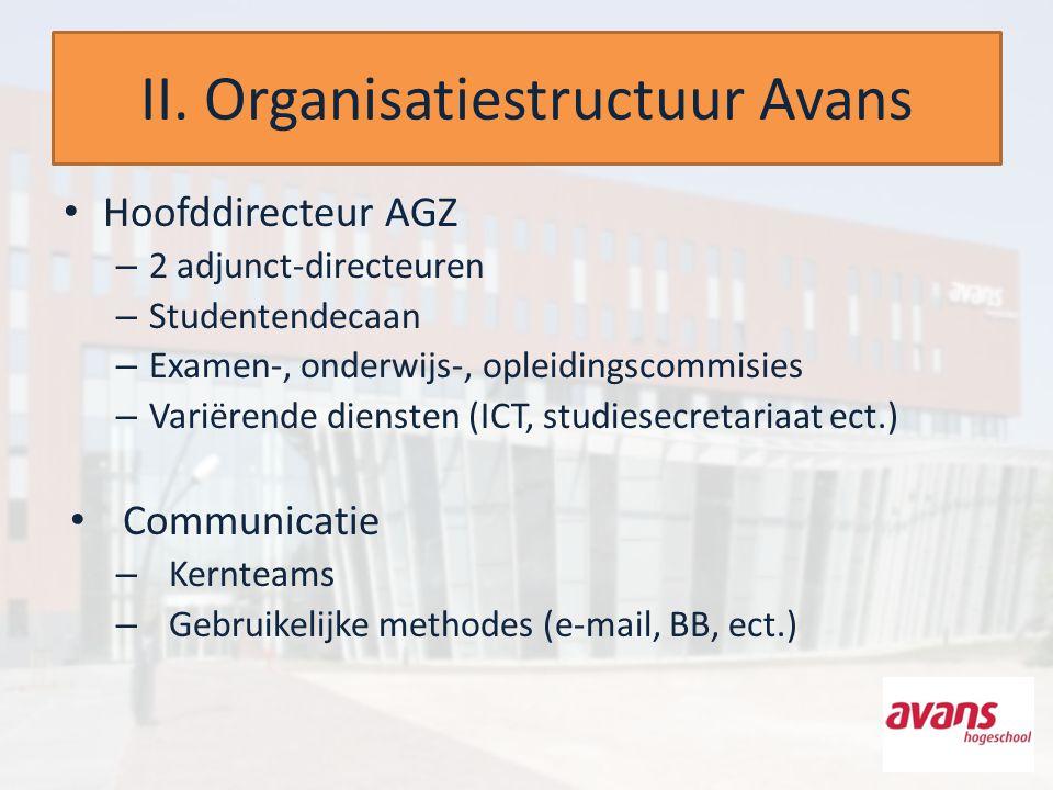 II. Organisatiestructuur Avans Hoofddirecteur AGZ – 2 adjunct-directeuren – Studentendecaan – Examen-, onderwijs-, opleidingscommisies – Variërende di