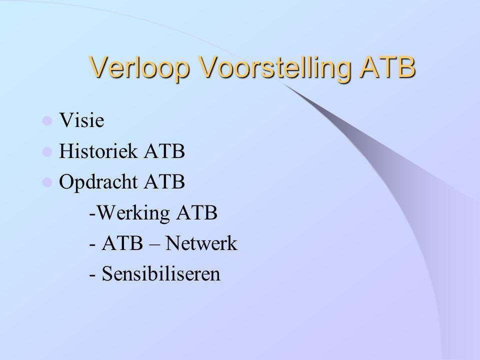 Verloop Voorstelling ATB Visie Historiek ATB Opdracht ATB -Werking ATB - ATB – Netwerk - Sensibiliseren