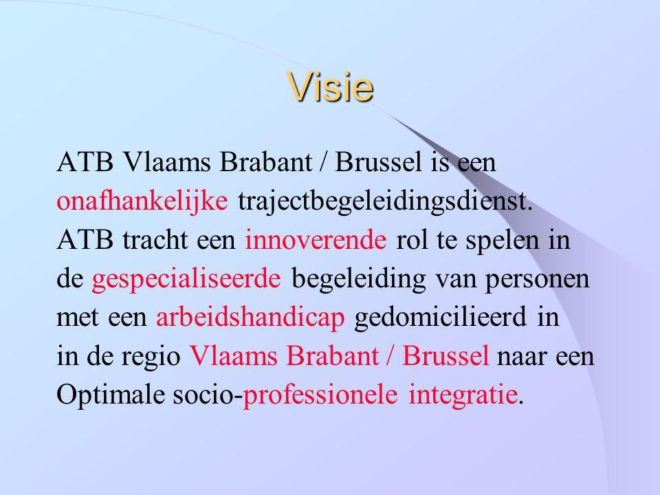 Visie ATB Vlaams Brabant / Brussel is een onafhankelijke trajectbegeleidingsdienst. ATB tracht een innoverende rol te spelen in de gespecialiseerde be