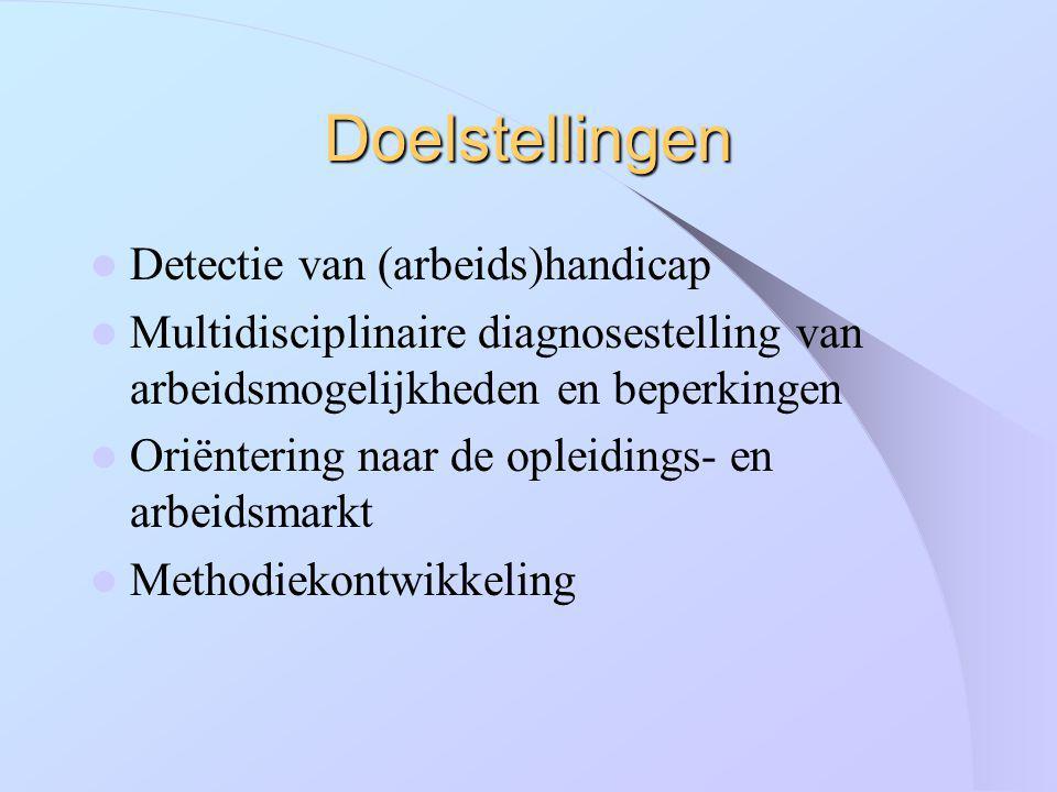 Doelstellingen Detectie van (arbeids)handicap Multidisciplinaire diagnosestelling van arbeidsmogelijkheden en beperkingen Oriëntering naar de opleidin