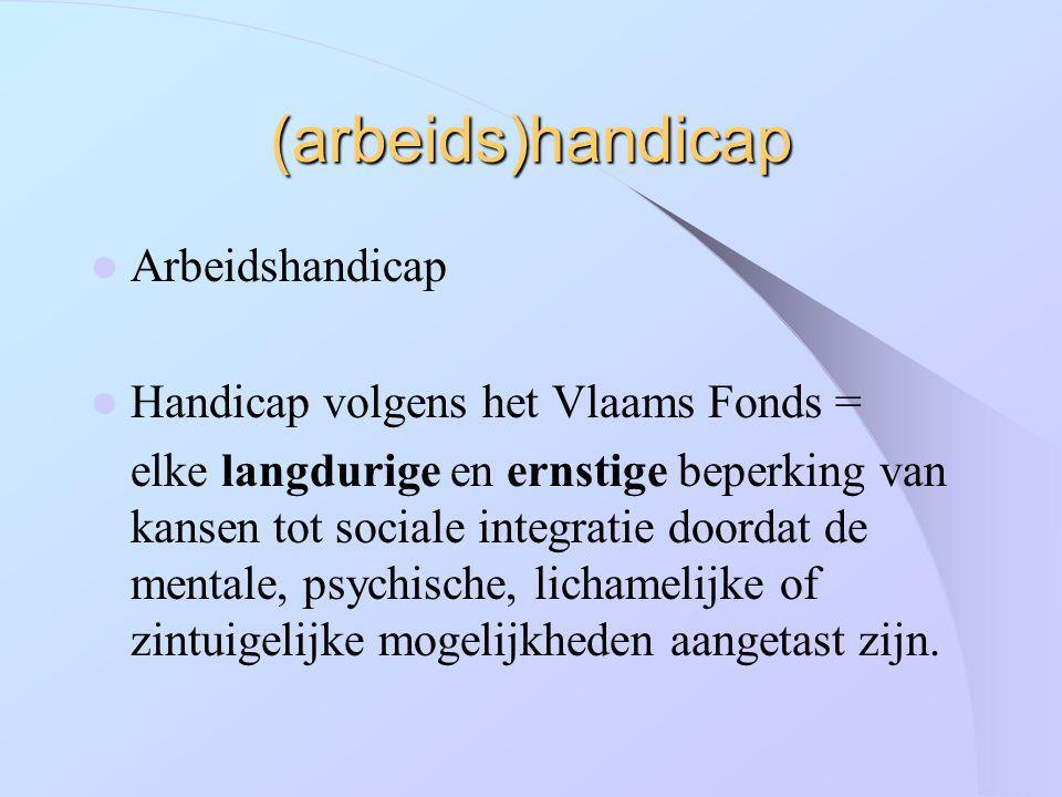 (arbeids)handicap Arbeidshandicap Handicap volgens het Vlaams Fonds = elke langdurige en ernstige beperking van kansen tot sociale integratie doordat