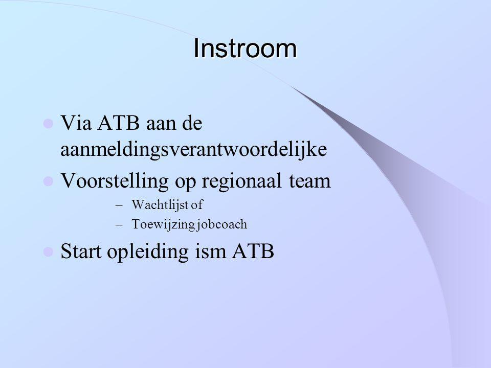 Instroom Via ATB aan de aanmeldingsverantwoordelijke Voorstelling op regionaal team – Wachtlijst of – Toewijzing jobcoach Start opleiding ism ATB