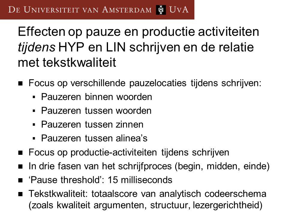 Effecten op pauze en productie activiteiten tijdens HYP en LIN schrijven en de relatie met tekstkwaliteit Focus op verschillende pauzelocaties tijdens