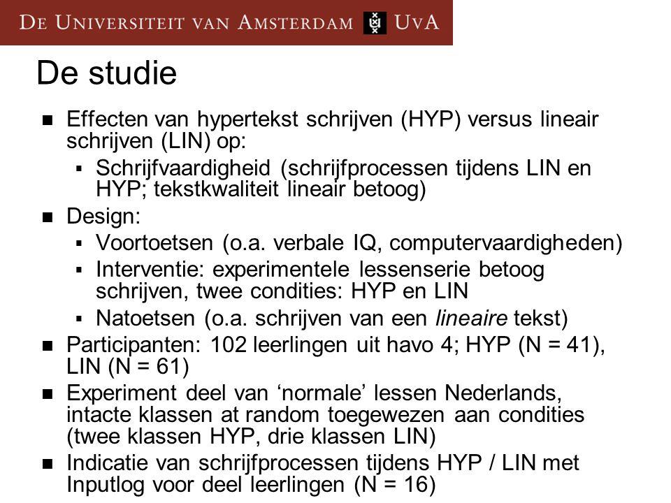 De studie Effecten van hypertekst schrijven (HYP) versus lineair schrijven (LIN) op:  Schrijfvaardigheid (schrijfprocessen tijdens LIN en HYP; tekstk
