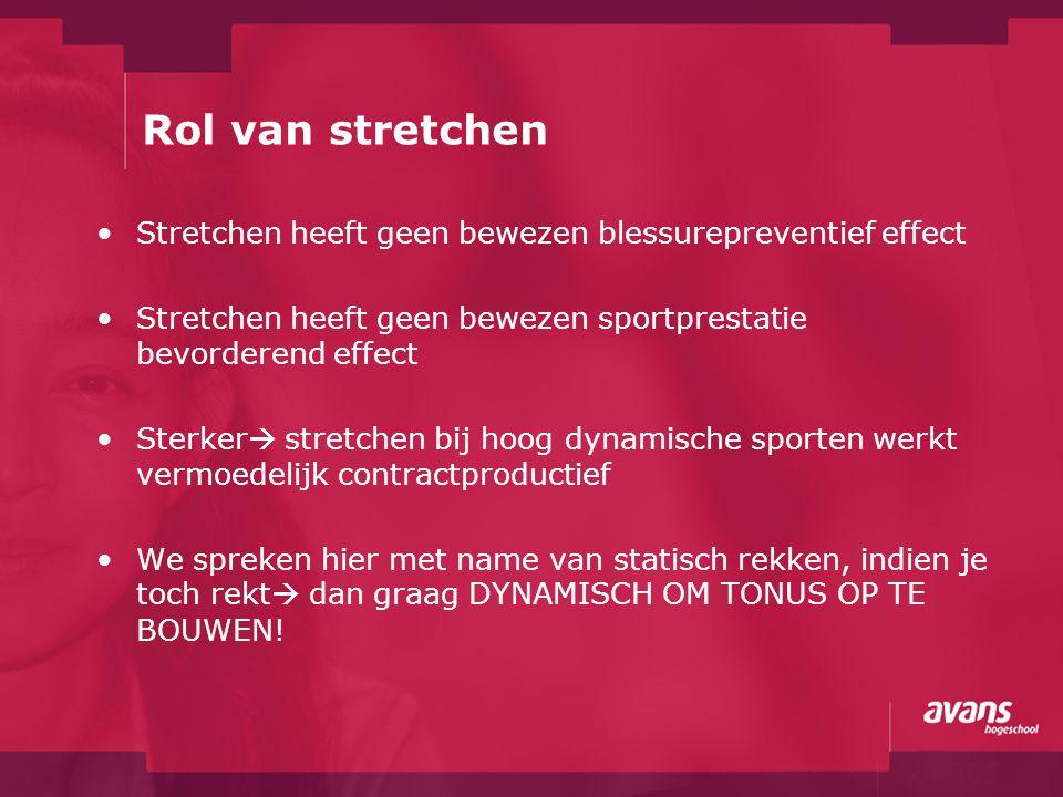Rol van stretchen Stretchen heeft geen bewezen blessurepreventief effect Stretchen heeft geen bewezen sportprestatie bevorderend effect Sterker  stre