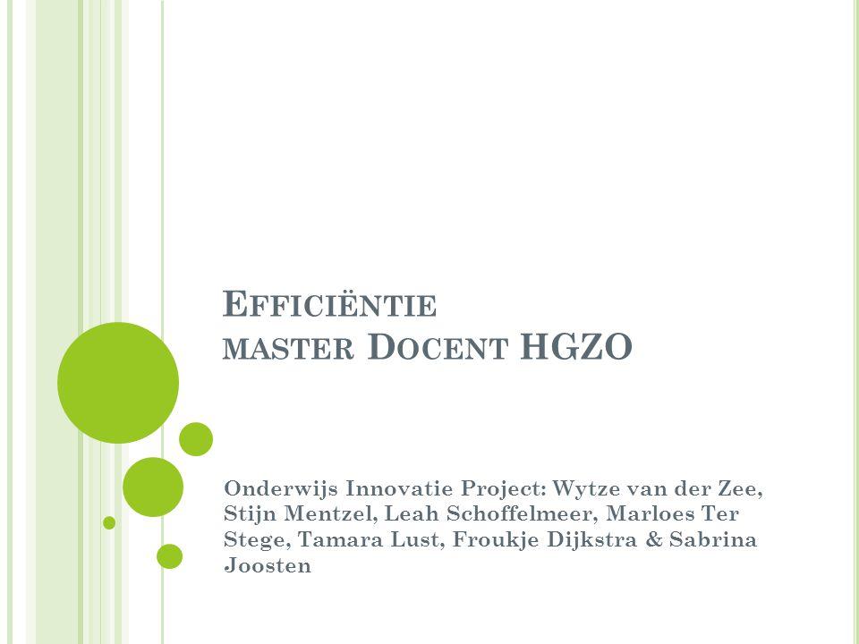 E FFICIËNTIE MASTER D OCENT HGZO Onderwijs Innovatie Project: Wytze van der Zee, Stijn Mentzel, Leah Schoffelmeer, Marloes Ter Stege, Tamara Lust, Froukje Dijkstra & Sabrina Joosten