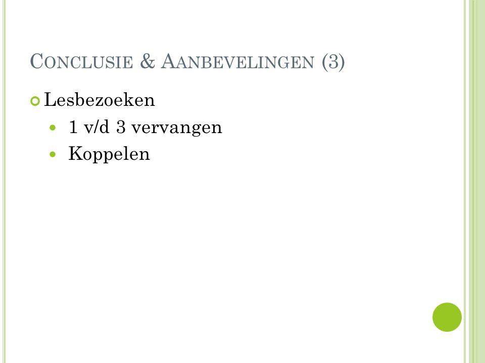 C ONCLUSIE & A ANBEVELINGEN (3) Lesbezoeken 1 v/d 3 vervangen Koppelen