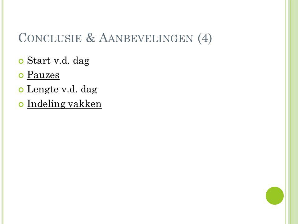 C ONCLUSIE & A ANBEVELINGEN (4) Start v.d. dag Pauzes Lengte v.d. dag Indeling vakken