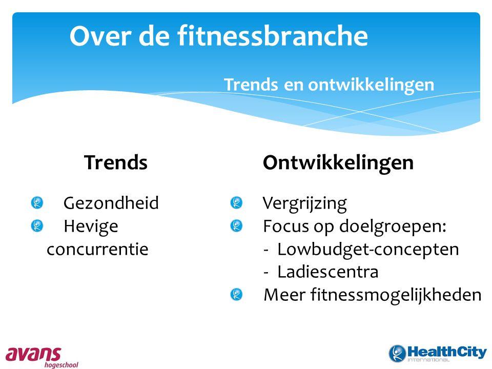 Over de fitnessbranche Trends en ontwikkelingen TrendsOntwikkelingen Gezondheid Hevige concurrentie Vergrijzing Focus op doelgroepen: - Lowbudget-concepten - Ladiescentra Meer fitnessmogelijkheden