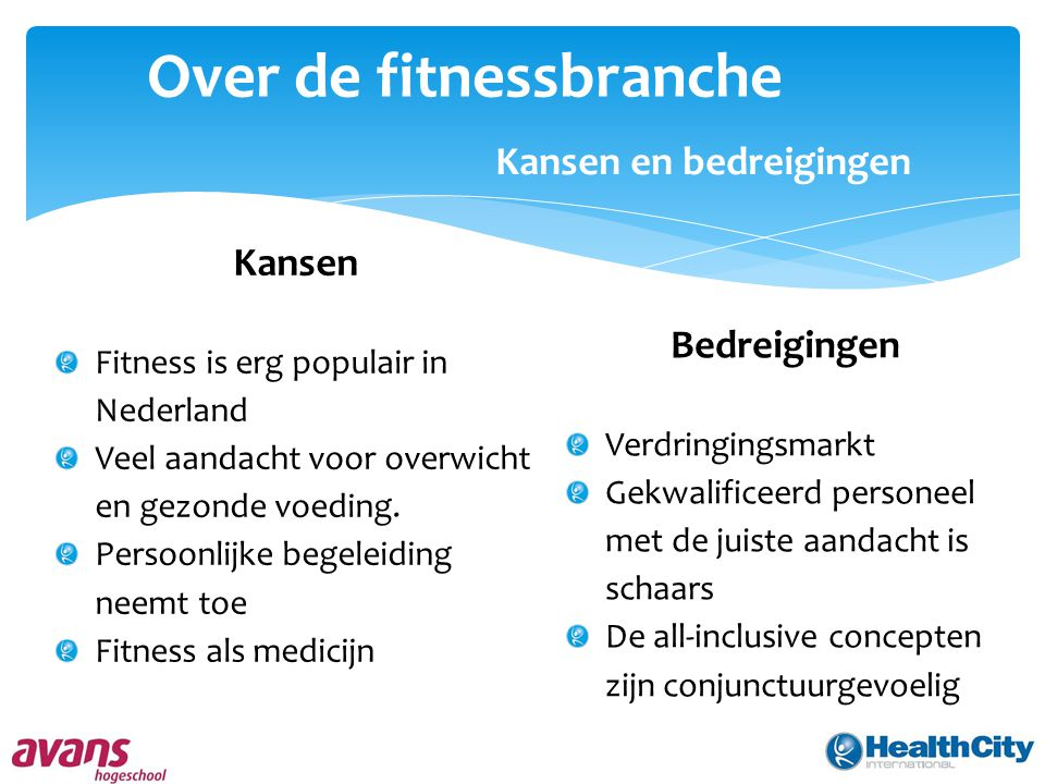 Over de fitnessbranche Kansen en bedreigingen Kansen Fitness is erg populair in Nederland Veel aandacht voor overwicht en gezonde voeding. Persoonlijk