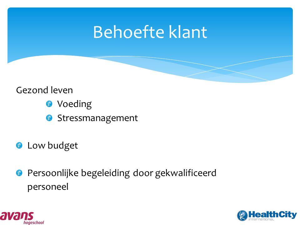Behoefte klant Gezond leven Voeding Stressmanagement Low budget Persoonlijke begeleiding door gekwalificeerd personeel