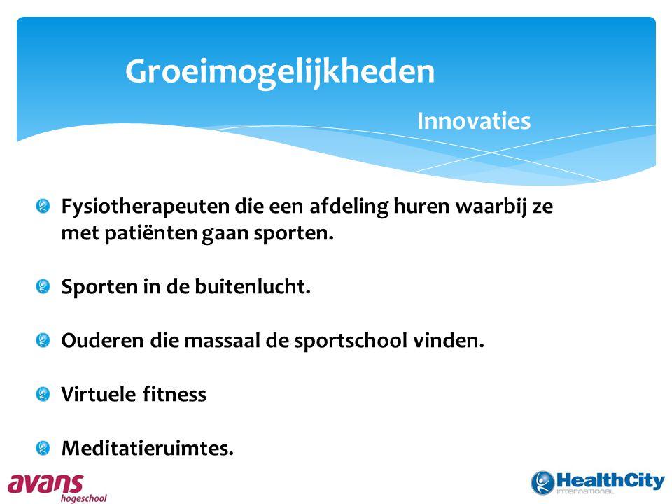 Groeimogelijkheden Innovaties Fysiotherapeuten die een afdeling huren waarbij ze met patiënten gaan sporten.
