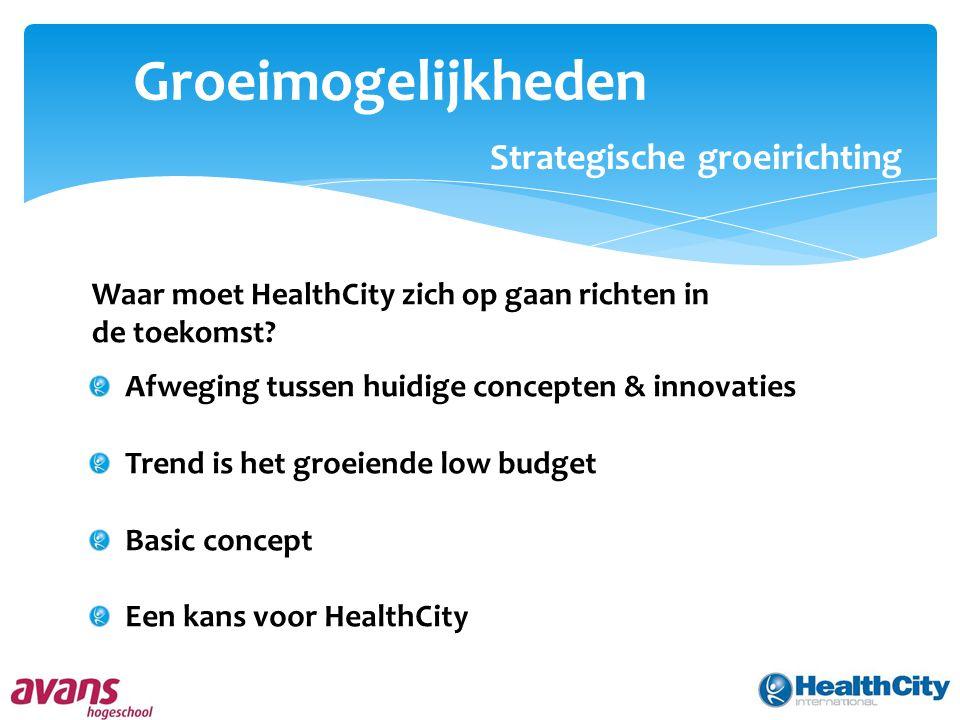 Groeimogelijkheden Strategische groeirichting Waar moet HealthCity zich op gaan richten in de toekomst? Afweging tussen huidige concepten & innovaties