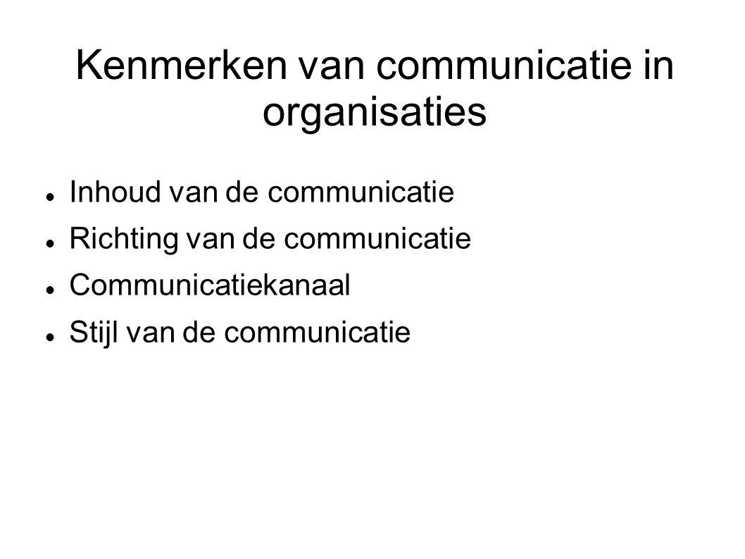 Kenmerken van communicatie in organisaties Inhoud van de communicatie Richting van de communicatie Communicatiekanaal Stijl van de communicatie