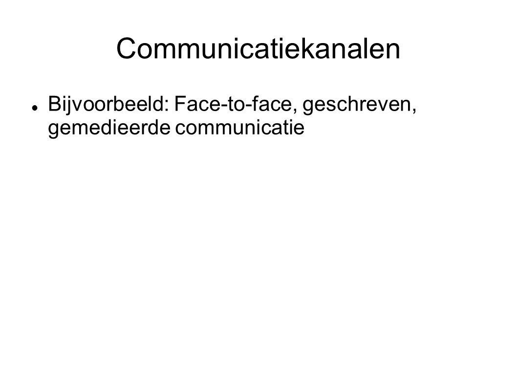 Communicatiekanalen Bijvoorbeeld: Face-to-face, geschreven, gemedieerde communicatie