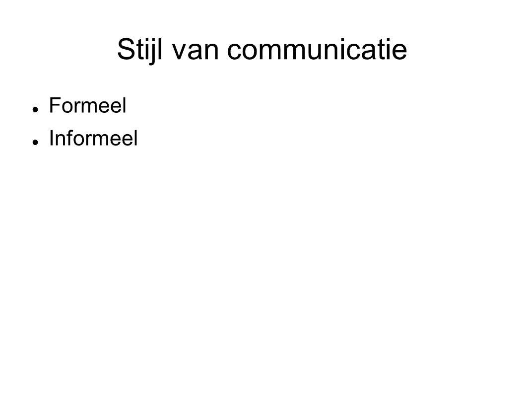 Stijl van communicatie Formeel Informeel