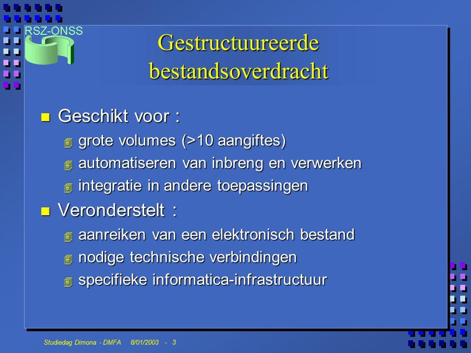 RSZ-ONSS Studiedag Dimona - DMFA 8/01/2003 - 3 Gestructuureerde bestandsoverdracht n Geschikt voor : 4 grote volumes (>10 aangiftes) 4 automatiseren v