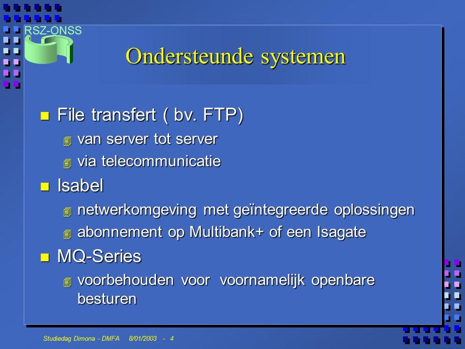RSZ-ONSS Studiedag Dimona - DMFA 8/01/2003 - 5 Principes n Opmaken van een file volgens beschrijving glossaria n Types van files : l datafile l file met digitale handtekening l go-file n File wordt geplaatst op een directory n Voorzien van een certifikaat ( Belgacom, Global, Isabel) n Maximum volume : 50 megabite