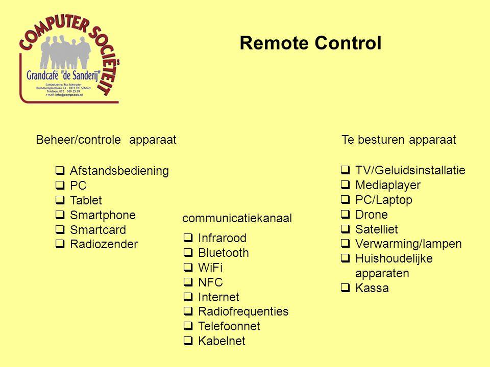 Remote Control Beheer/controle apparaat  Afstandsbediening  PC  Tablet  Smartphone  Smartcard  Radiozender Te besturen apparaat  TV/Geluidsinstallatie  Mediaplayer  PC/Laptop  Drone  Satelliet  Verwarming/lampen  Huishoudelijke apparaten  Kassa communicatiekanaal  Infrarood  Bluetooth  WiFi  NFC  Internet  Radiofrequenties  Telefoonnet  Kabelnet