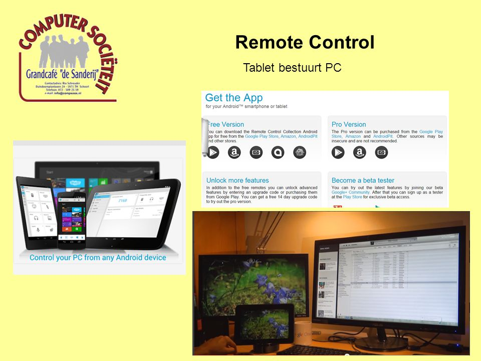 Remote Control Tablet bestuurt PC