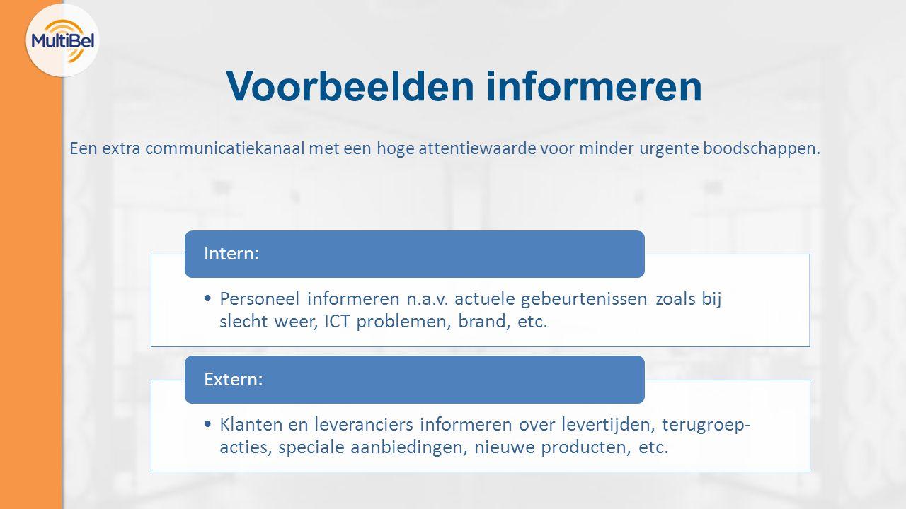 Voorbeelden informeren Personeel informeren n.a.v. actuele gebeurtenissen zoals bij slecht weer, ICT problemen, brand, etc. Intern: Klanten en leveran