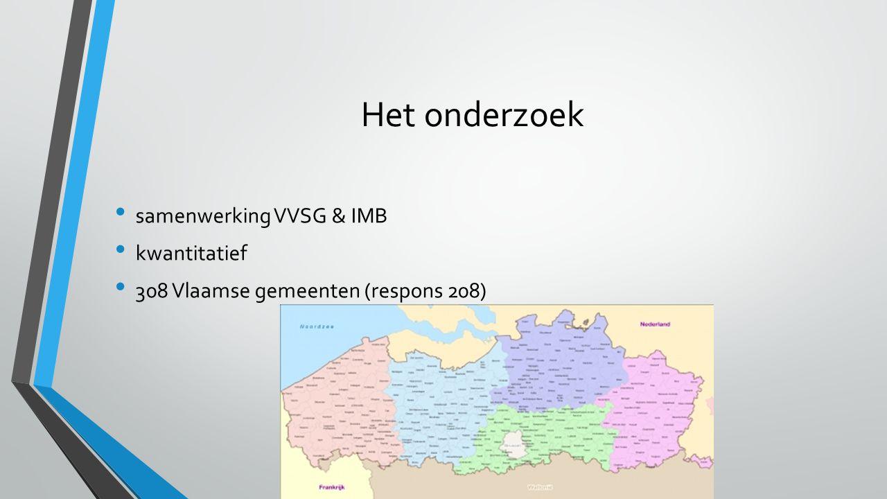 samenwerking VVSG & IMB kwantitatief 308 Vlaamse gemeenten (respons 208) Het onderzoek
