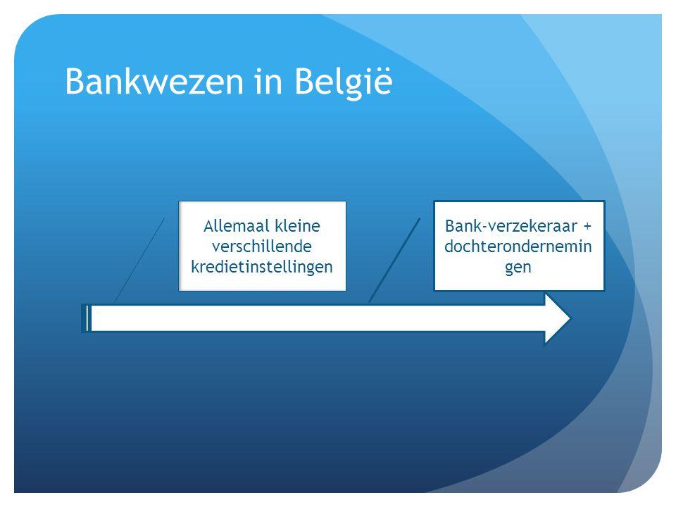 Bankwezen in België Allemaal kleine verschillende kredietinstellingen Bank-verzekeraar + dochterondernemin gen