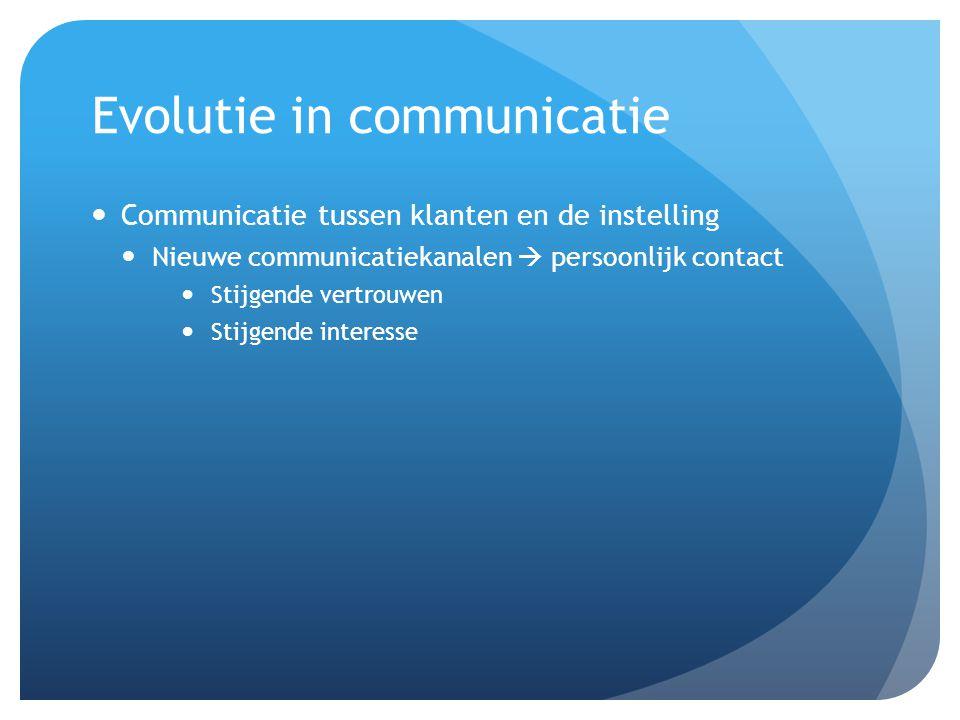 Evolutie in communicatie Communicatie tussen klanten en de instelling Nieuwe communicatiekanalen  persoonlijk contact Stijgende vertrouwen Stijgende interesse