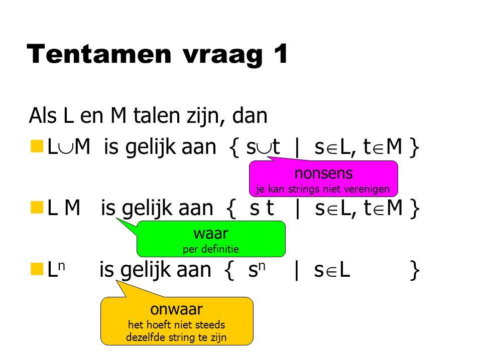 Tentamen vraag 1 Als L en M talen zijn, dan nL  M is gelijk aan { s  t | s  L, t  M } nL M is gelijk aan { s t | s  L, t  M } nL n is gelijk aan { s n | s  L } nonsens je kan strings niet verenigen waar per definitie onwaar het hoeft niet steeds dezelfde string te zijn