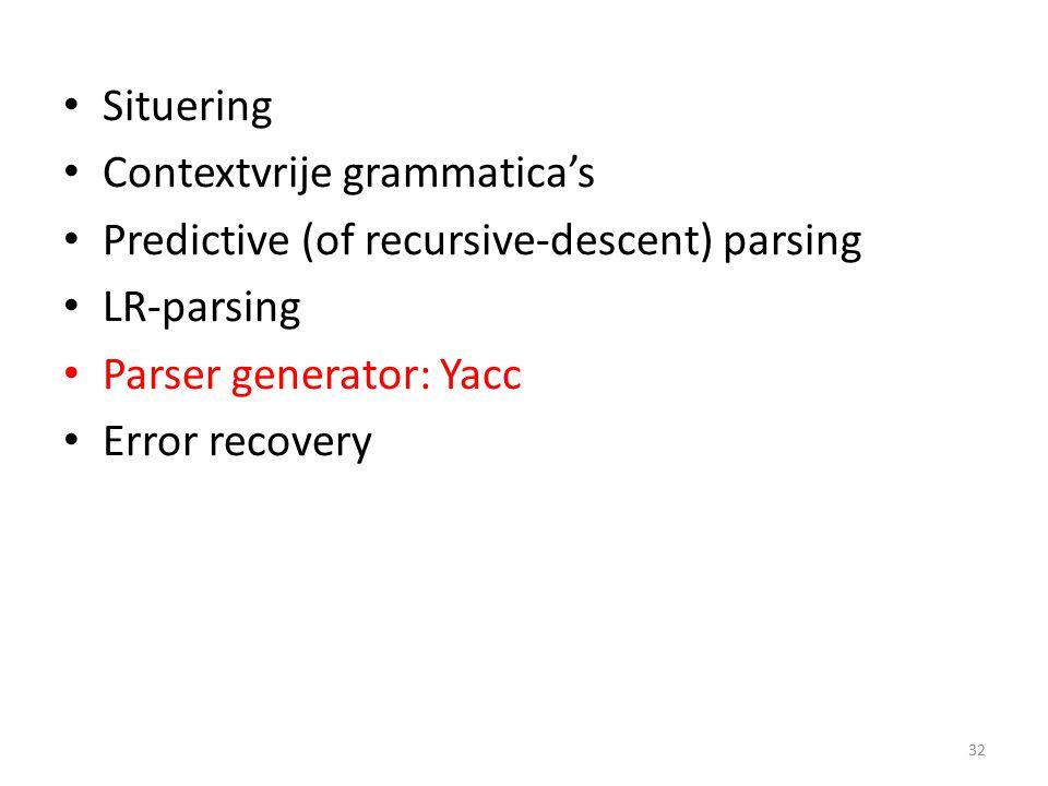 Situering Contextvrije grammatica's Predictive (of recursive-descent) parsing LR-parsing Parser generator: Yacc Error recovery 32