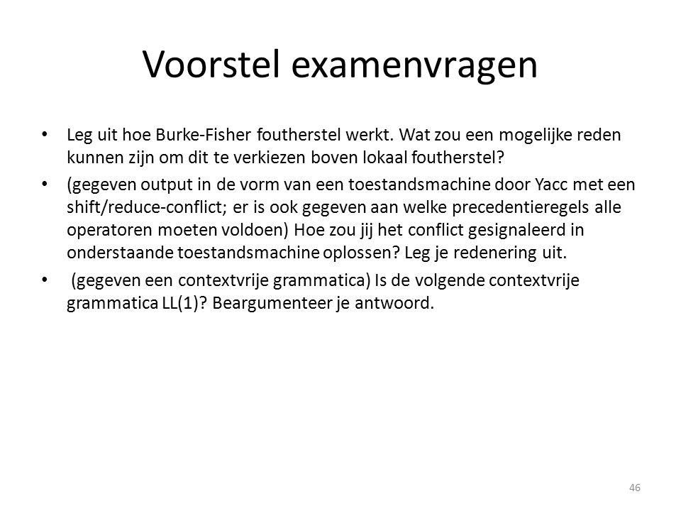 Voorstel examenvragen Leg uit hoe Burke-Fisher foutherstel werkt. Wat zou een mogelijke reden kunnen zijn om dit te verkiezen boven lokaal foutherstel