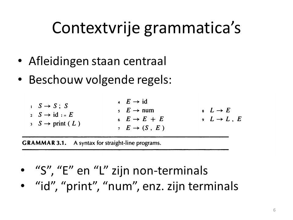 """Contextvrije grammatica's Afleidingen staan centraal Beschouw volgende regels: 6 """"S"""", """"E"""" en """"L"""" zijn non-terminals """"id"""", """"print"""", """"num"""", enz. zijn te"""