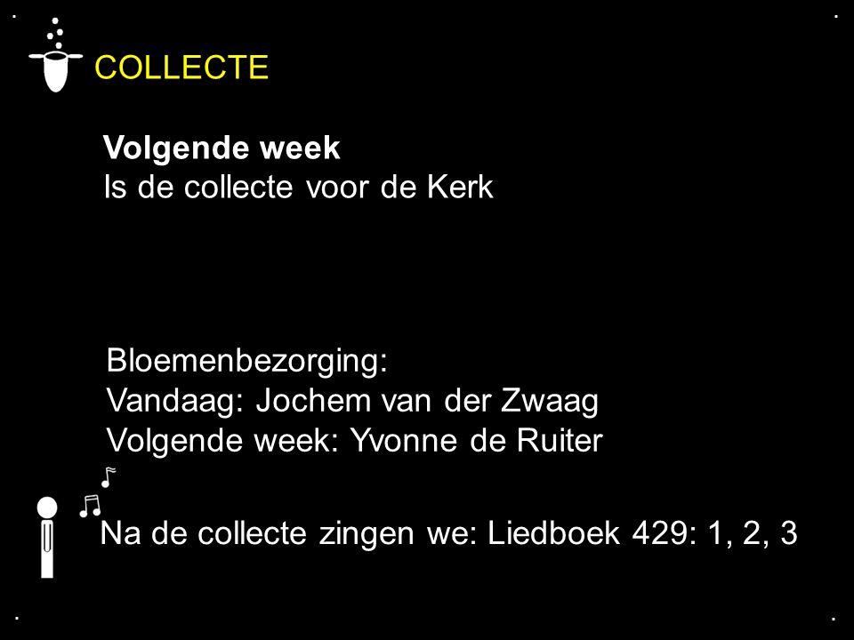 .... COLLECTE Volgende week Is de collecte voor de Kerk Bloemenbezorging: Vandaag: Jochem van der Zwaag Volgende week: Yvonne de Ruiter Na de collecte
