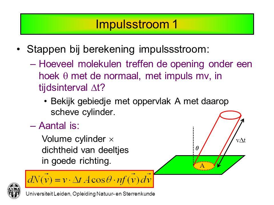 Universiteit Leiden, Opleiding Natuur- en Sterrenkunde Impulsstroom 1 A  vtvt Stappen bij berekening impulssstroom: –Hoeveel molekulen treffen de opening onder een hoek  met de normaal, met impuls mv, in tijdsinterval  t.
