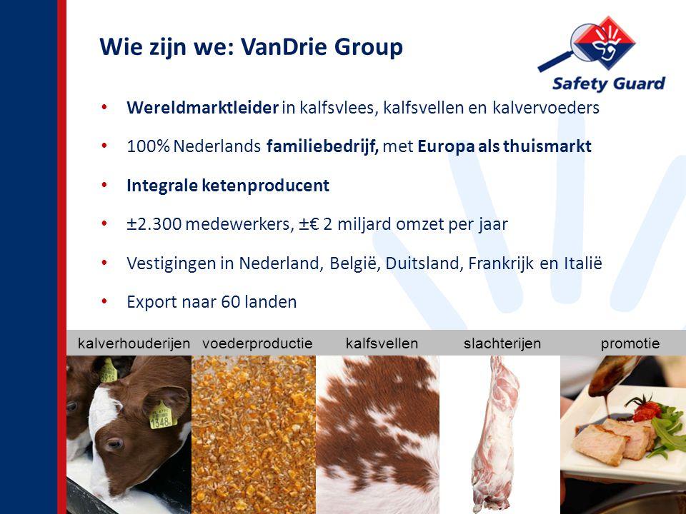 Wie zijn we: VanDrie Group Wereldmarktleider in kalfsvlees, kalfsvellen en kalvervoeders 100% Nederlands familiebedrijf, met Europa als thuismarkt Integrale ketenproducent ±2.300 medewerkers, ±€ 2 miljard omzet per jaar Vestigingen in Nederland, België, Duitsland, Frankrijk en Italië Export naar 60 landen 2 kalverhouderijen voederproductie kalfsvellen slachterijen promotie