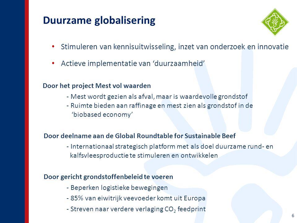 Duurzame globalisering 6 Stimuleren van kennisuitwisseling, inzet van onderzoek en innovatie Actieve implementatie van 'duurzaamheid' Door het project Mest vol waarden - Mest wordt gezien als afval, maar is waardevolle grondstof - Ruimte bieden aan raffinage en mest zien als grondstof in de 'biobased economy' Door deelname aan de Global Roundtable for Sustainable Beef - Internationaal strategisch platform met als doel duurzame rund- en kalfsvleesproductie te stimuleren en ontwikkelen Door gericht grondstoffenbeleid te voeren - Beperken logistieke bewegingen - 85% van eiwitrijk veevoeder komt uit Europa - Streven naar verdere verlaging CO 2 feedprint