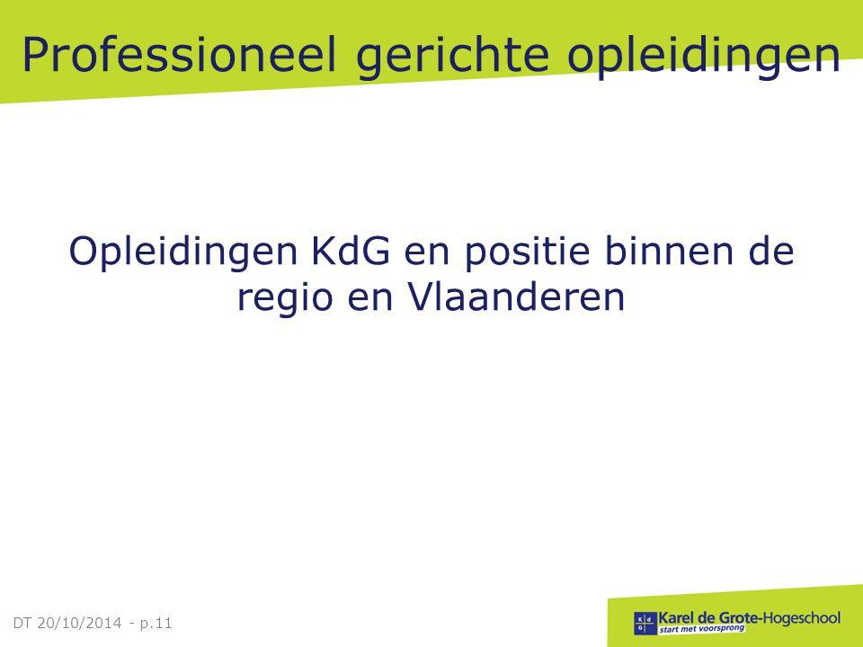 Professioneel gerichte opleidingen Opleidingen KdG en positie binnen de regio en Vlaanderen DT 20/10/2014 - p.11