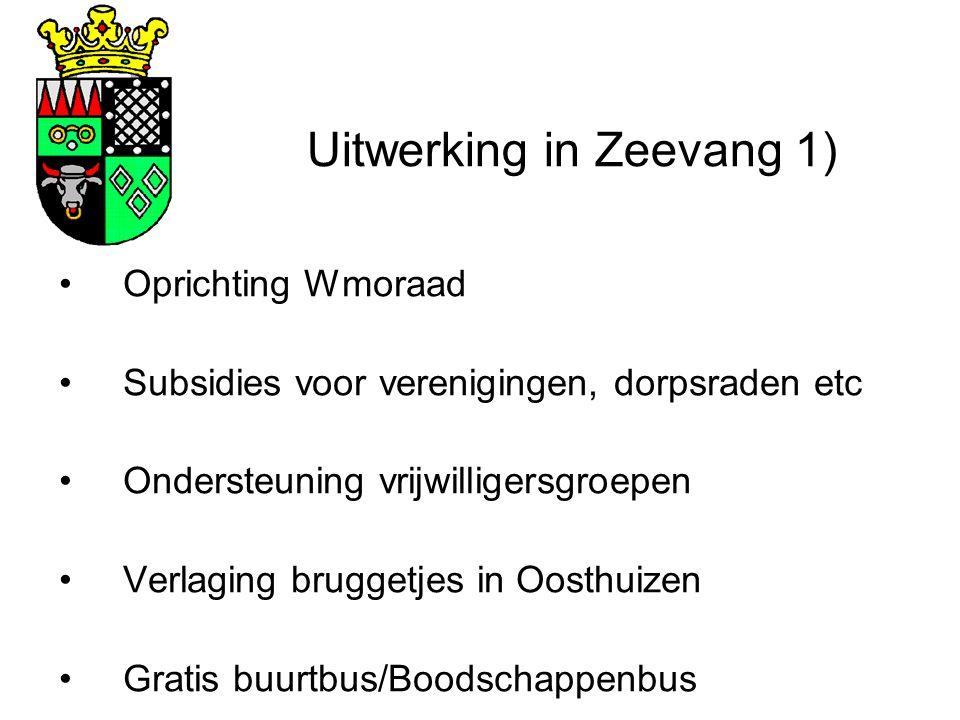 Uitwerking in Zeevang 1) Oprichting Wmoraad Subsidies voor verenigingen, dorpsraden etc Ondersteuning vrijwilligersgroepen Verlaging bruggetjes in Oosthuizen Gratis buurtbus/Boodschappenbus
