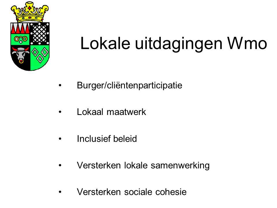 Lokale uitdagingen Wmo Burger/cliëntenparticipatie Lokaal maatwerk Inclusief beleid Versterken lokale samenwerking Versterken sociale cohesie