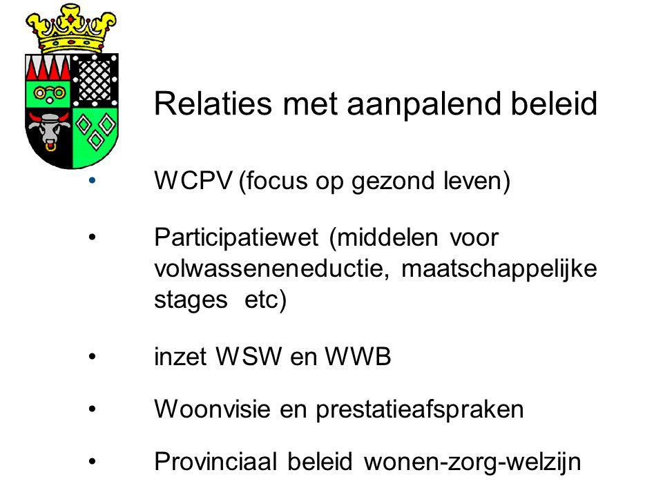 Relaties met aanpalend beleid WCPV (focus op gezond leven) Participatiewet (middelen voor volwasseneneductie, maatschappelijke stages etc) inzet WSW en WWB Woonvisie en prestatieafspraken Provinciaal beleid wonen-zorg-welzijn