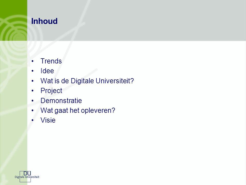 Inhoud Trends Idee Wat is de Digitale Universiteit.