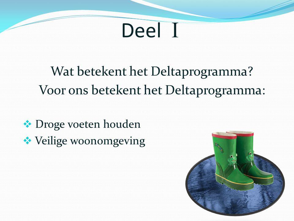 Deel  Wat betekent het Deltaprogramma? Voor ons betekent het Deltaprogramma:  Droge voeten houden  Veilige woonomgeving