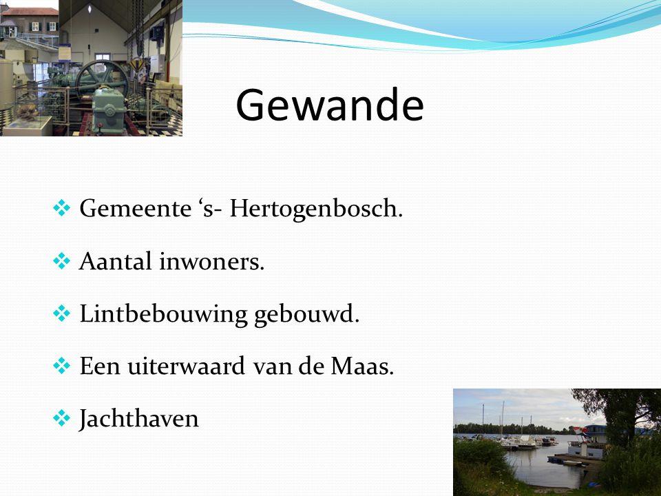 Gewande  Gemeente 's- Hertogenbosch.  Aantal inwoners.  Lintbebouwing gebouwd.  Een uiterwaard van de Maas.  Jachthaven