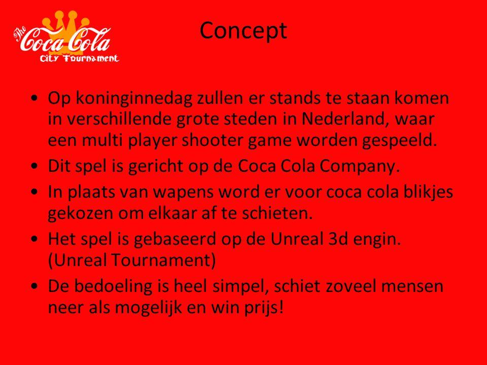 Concept Op koninginnedag zullen er stands te staan komen in verschillende grote steden in Nederland, waar een multi player shooter game worden gespeel