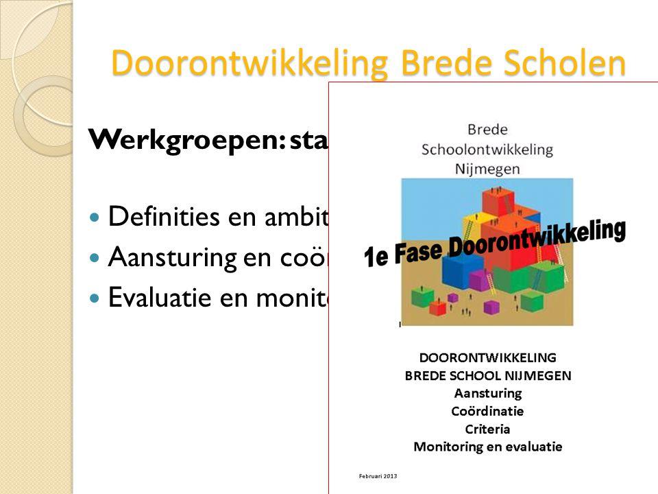Doorontwikkeling Brede Scholen Werkgroepen: stand van zaken Definities en ambities Aansturing en coördinatie Evaluatie en monitoring